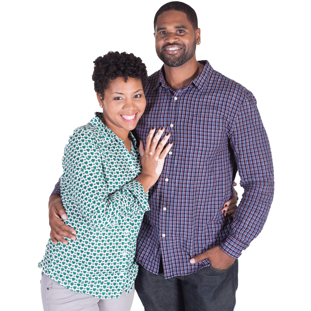 African american couple posing together and smiling