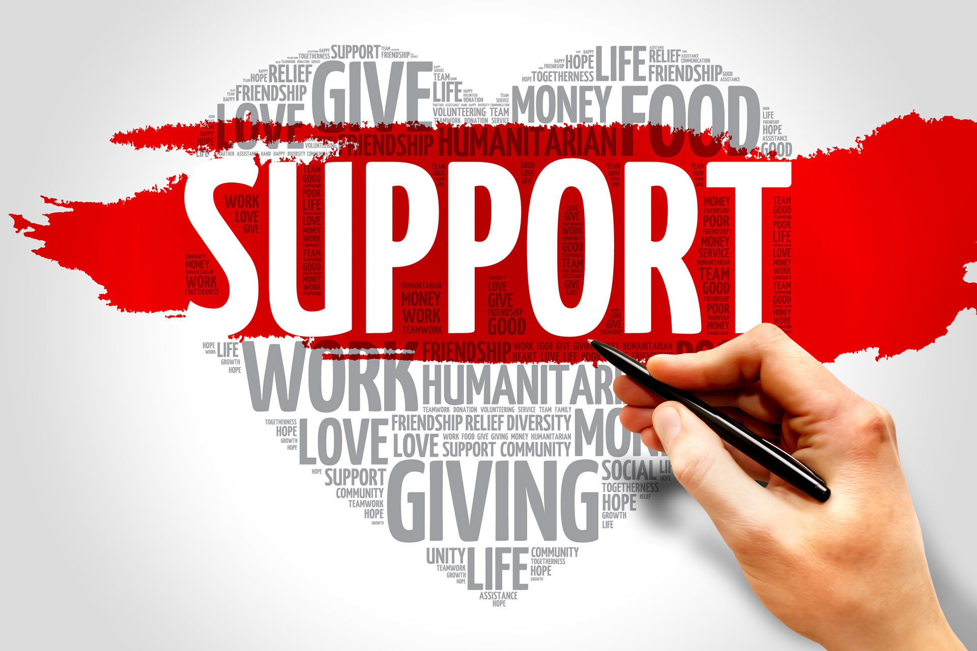 "graphic of a heart with a red banner across it that says ""support"""